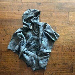 Hooded camo poncho